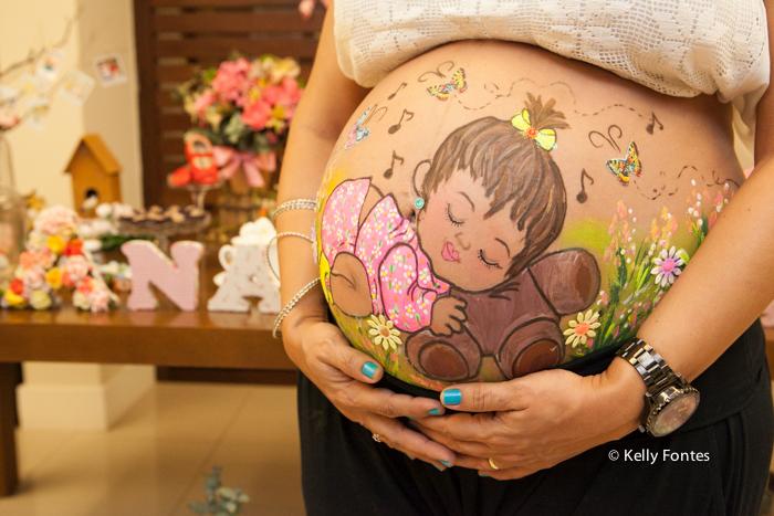 fotos cha de bebe RJ cha de fraldas Ana Clara pintura na barriga da gravida rosto da menina