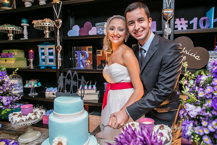 Fotografia Casamento RJ fotos decoração da mesa corte do bolo com os noivos