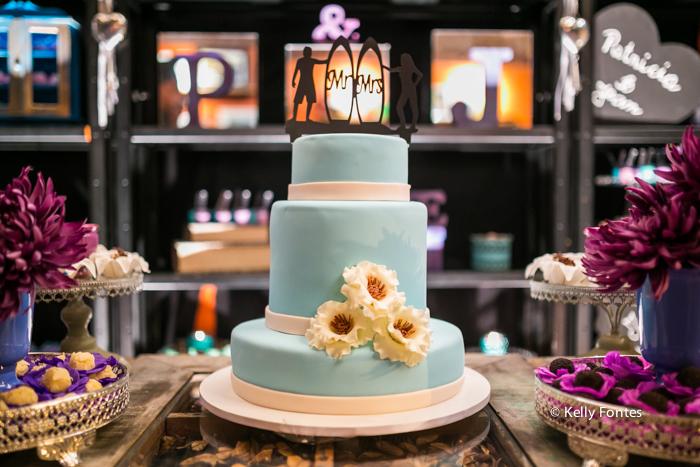Fotografia Casamento RJ fotos decoração da mesa do bolo com topo de bolo