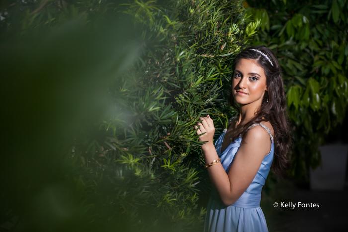 Fotografia festa 15 anos jardim bailarina vestido azul debutante rio de janeiro RJ Kelly Fontes