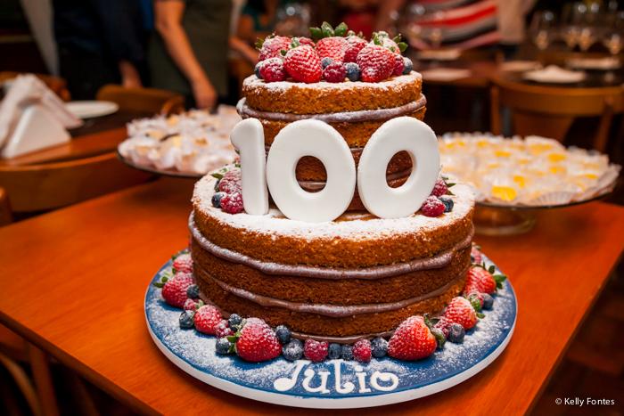 Fotografia festa 100 anos RJ Julio naked cake bolo de aniversário do patriarca Escola do Pão Jardim Botânico